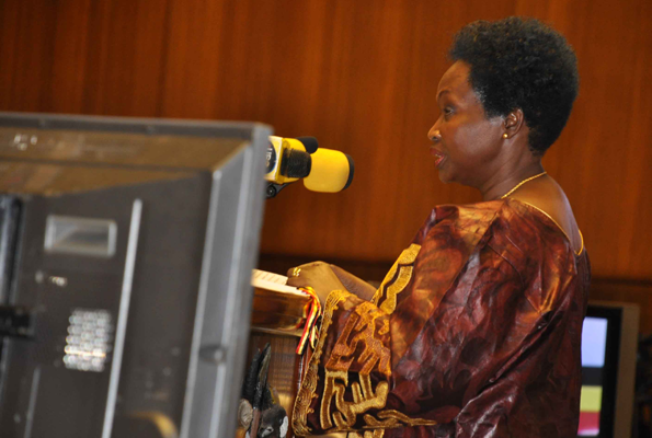 Ms Kiwanuka delivering the 2012/13 Budget. The minister is this afternoon expected to read the 2013/14 Budget is believed to have been derived from tough decisions as the government seeks to plug a huge deficit gap. PHOTO BY GEOFFREY SSERUYANGE.