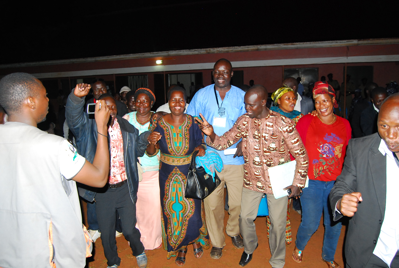 IPC's Lucy Akello celebrates