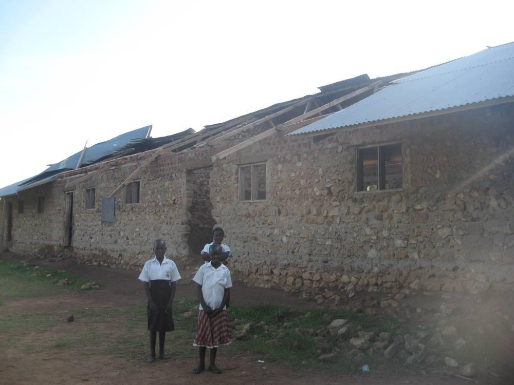 School roof blown off