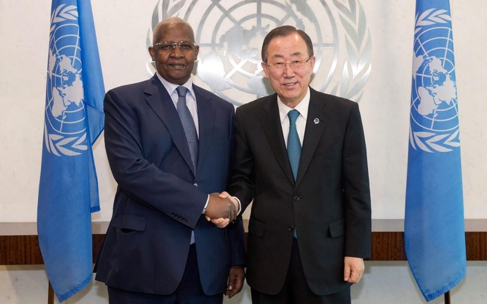 Sam Kuteesa and UN Chief Ban Ki Moon at an earlier event
