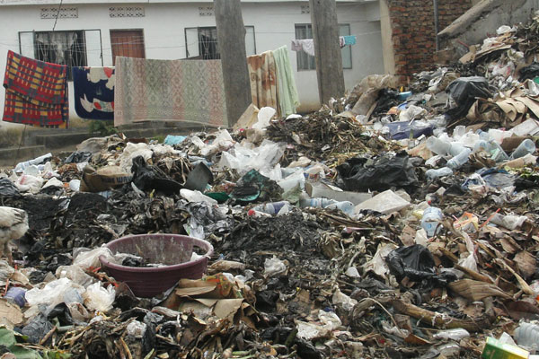 Rubbish next to people's residents