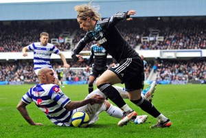 Torres (R) vies with QPR's Fitz Hall (L) in the FA Cup. Nando is due some luck. PHOTO BY AFP.